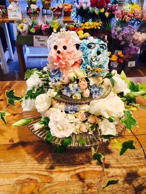 ラブラブわんちゃんのウェディングケーキ ツボイフローリスト