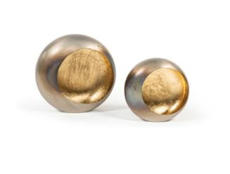 Dekocandle zilveren cirkelmotieven