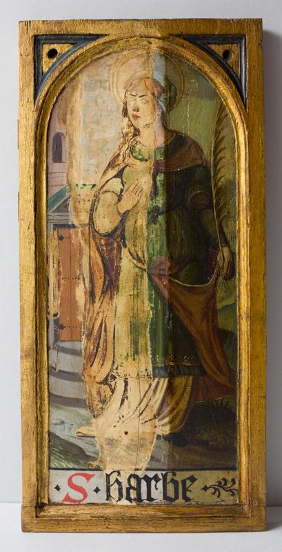 Holztafel mit der Hl. Barbara