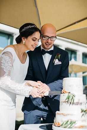 Hochzeit in Dresden am Weinberg - Hochzeitstorte anschneiden am Lingnerschloss