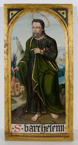 Holztafel mit dem Hl. Batholomäus