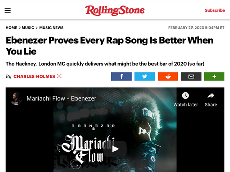 "Rolling Stone: ""Ebenezer Proves Every Rap Song Is Better When You Lie"""