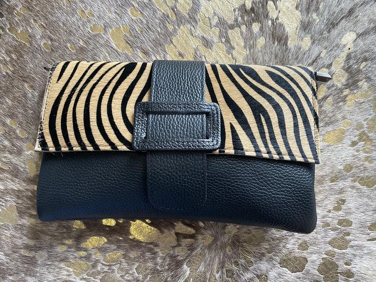 Zebra Cowhide Print Leather Clutch Bag