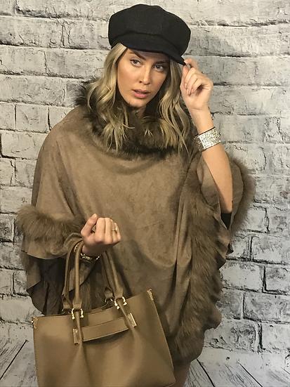 Luxury Suedette Fur Trimmed Poncho