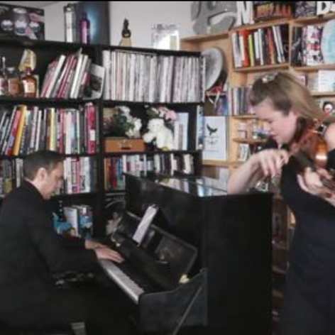 Performing on NPR'S Tiny Desk with Lara St. John (screen shot from video).pn