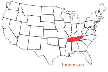 Map of Tennessee in the USA