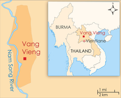 Map of Vang Vieng in Laos