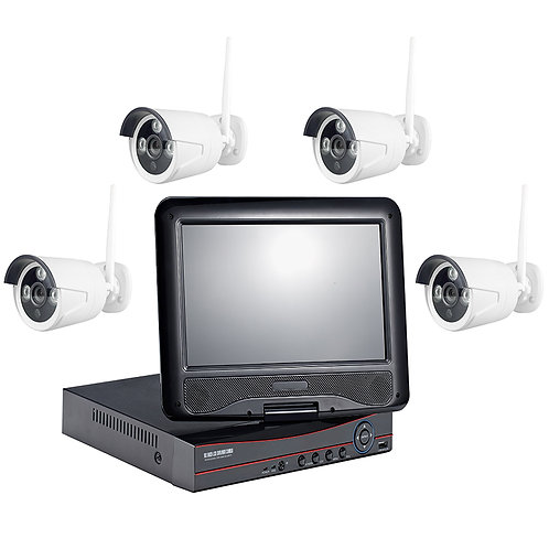 "KIT VIDEO SURVEILLANCE B-E +ECRAN 9"" 22CM 4 CAMERA 2 MEGA"