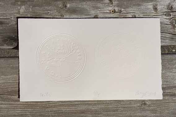 """Tails (front), Photopolymer Letterpress Embossment and Debossment, and Screen, 5.5"""" x 10"""", 2019, $50 with 100% of the proceeds being donated"""
