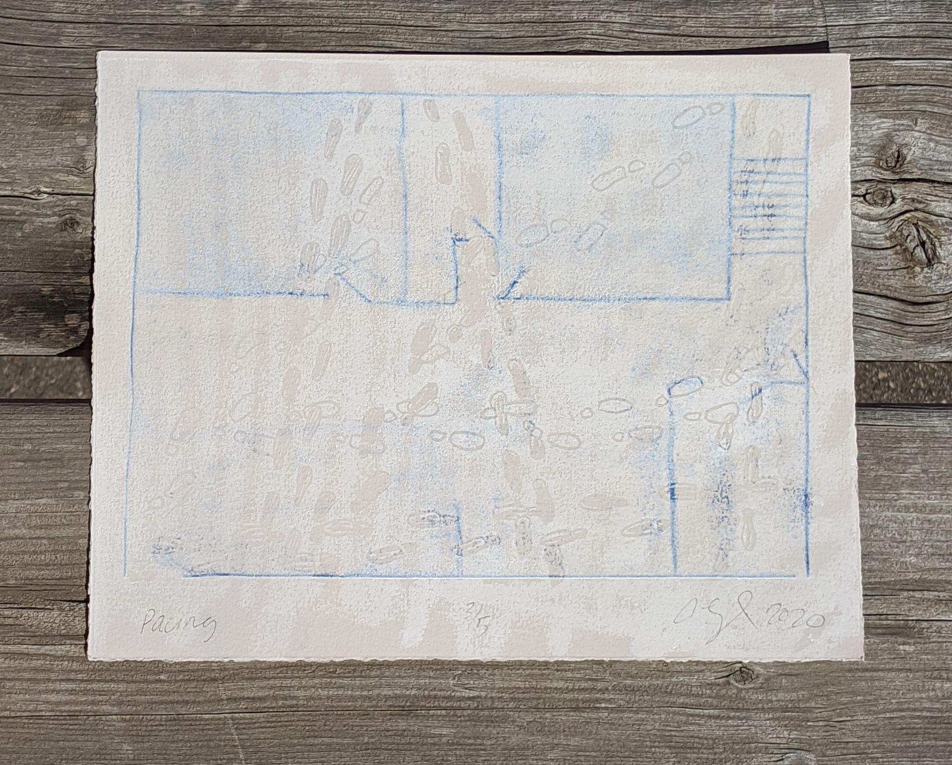 "Pacing, Relief and trace monoprint on grey rag paper, 8"" x 10"", 2020 $50 with 50% of the proceeds being donated"