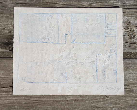 """Pacing, Relief and trace monoprint on grey rag paper, 8"""" x 10"""", 2020 $50 with 50% of the proceeds being donated"""