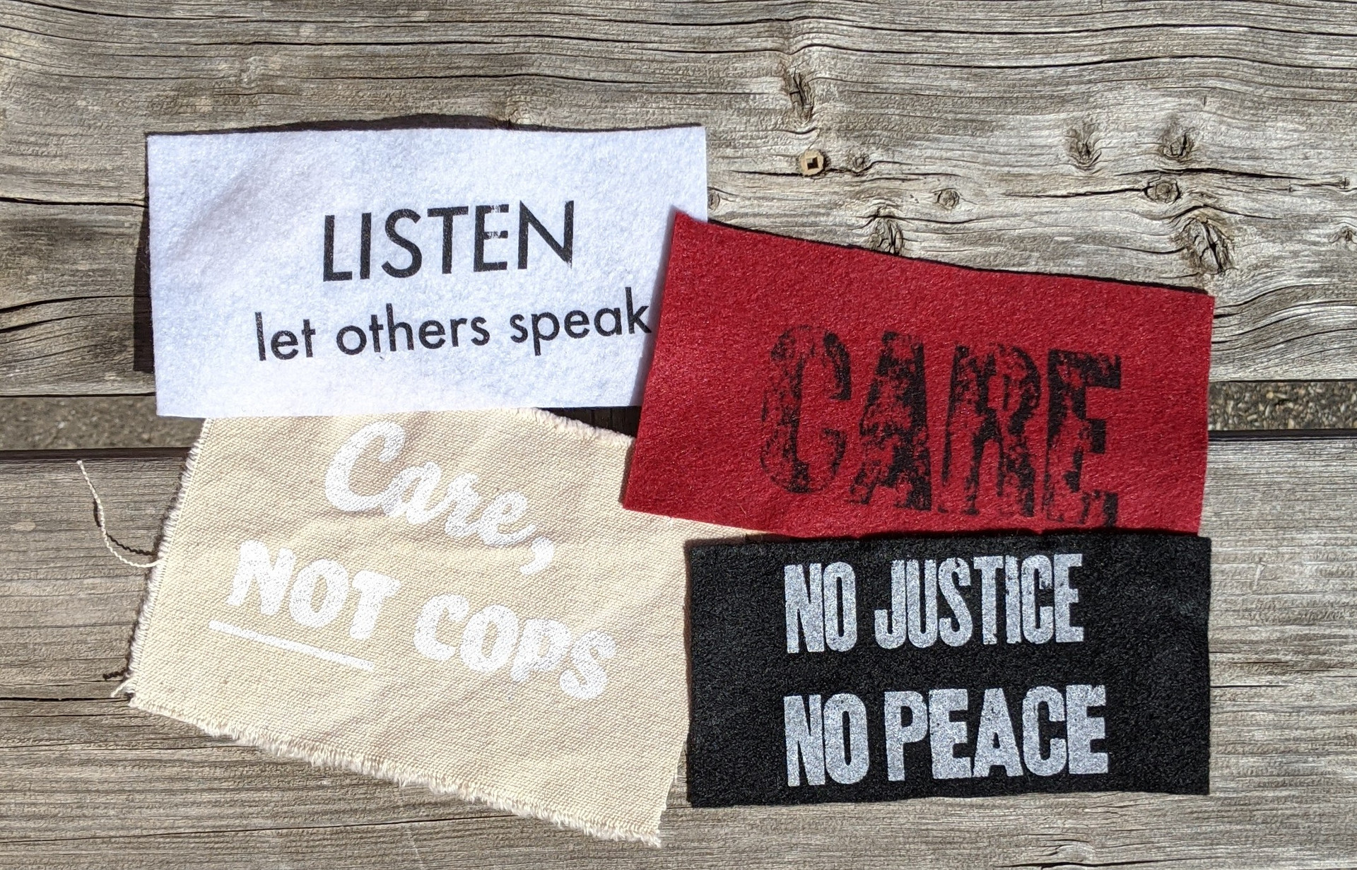 "Silence is Violence, Screen printed large patch, 8.5"" x 10.5"", 2020 $15"
