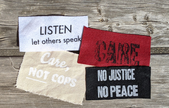 """Silence is Violence, Screen printed large patch, 8.5"""" x 10.5"""", 2020 $15"""