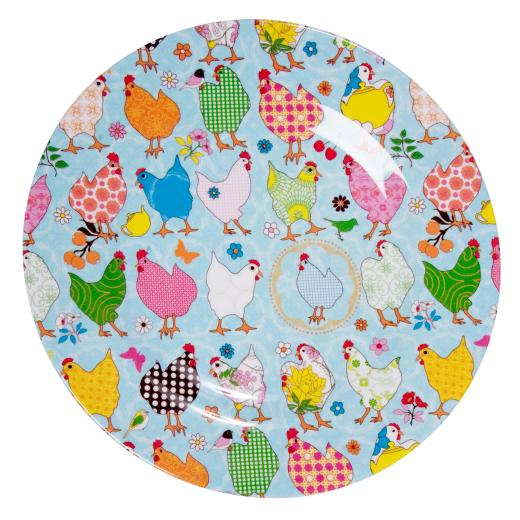 colourful melamine hens plate