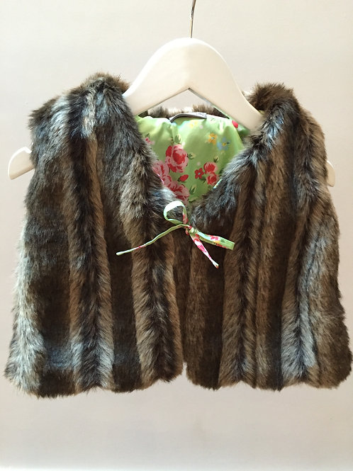 Gilet fausse fourrure (brown/roses)