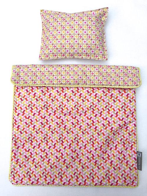 Set de lit pour poupée (confettis/pink floral)