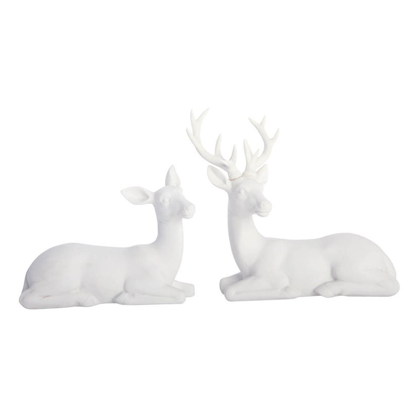 smallable white seated reindeer pair