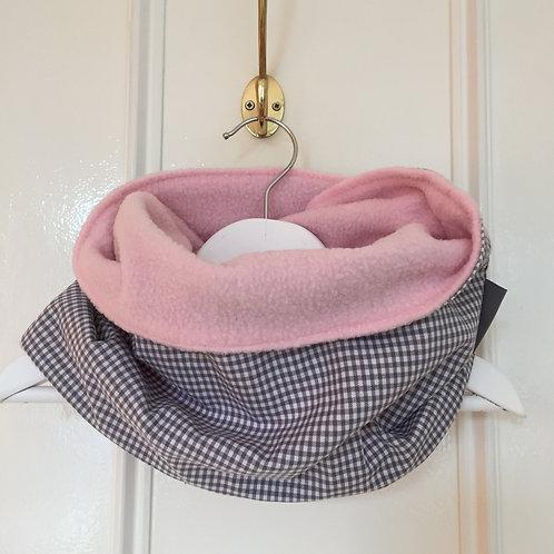 Snood réversible (pink/grey vichy)