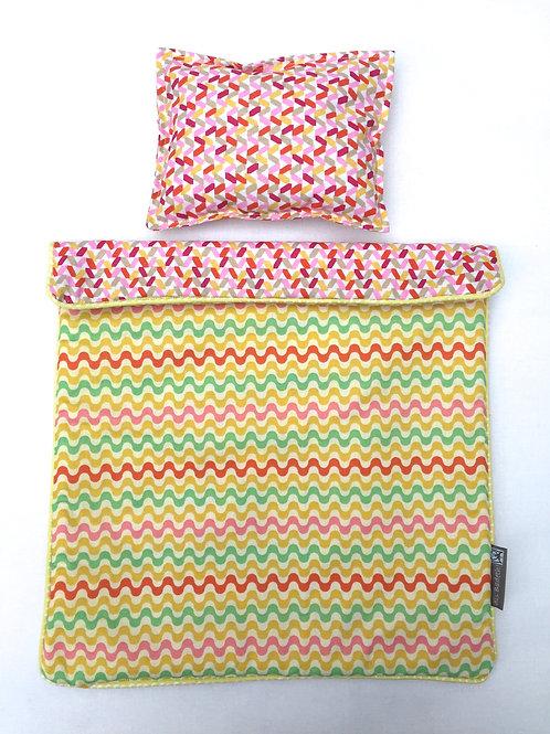 Set de lit pour poupée (ric rac/confettis)