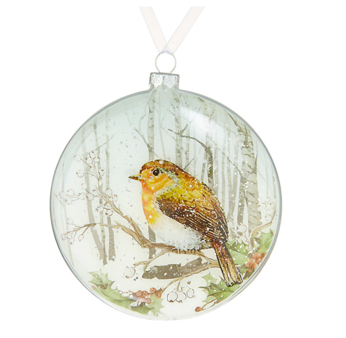 Snowshill Robin winter scene bauble