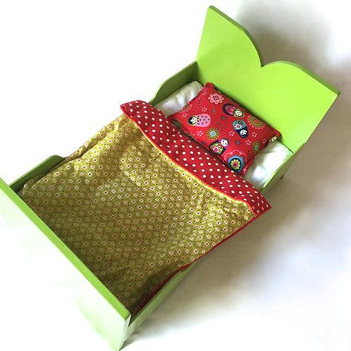 Lit de poupée avec parure (green)