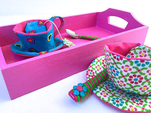 Service à thé (pink tray/turquoise)