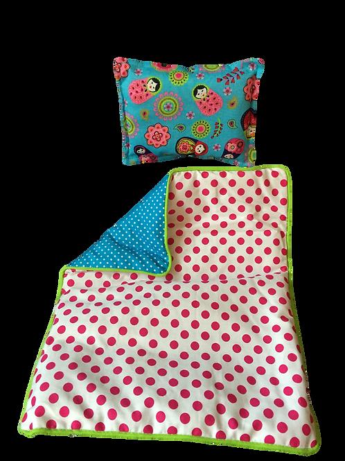 Set de lit pour poupée (fuchsia dots/turquoise)