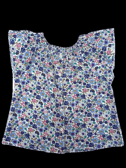Blouse Léa (fleuri bleu)