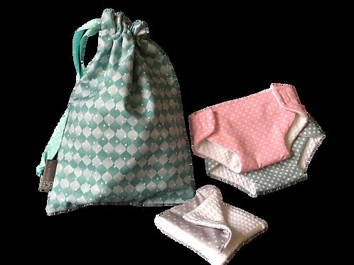 Set de couches pour poupée (tealblue/grey)