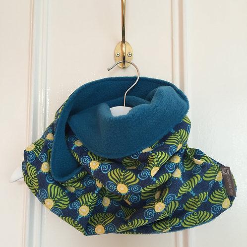 Snood réversible (turquoise/palms)