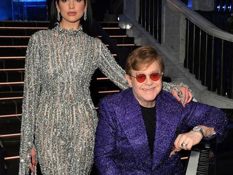 Dua Lipa Duets with Elton John at His Oscar Viewing Party