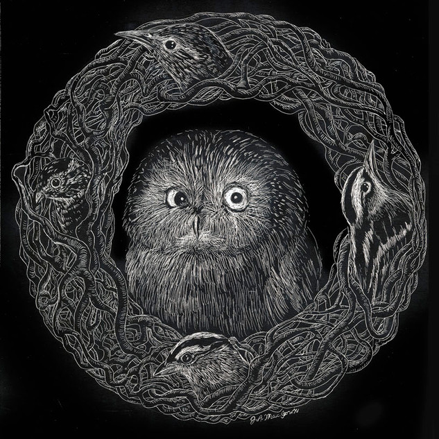 Owl Wreathed by Song Birds
