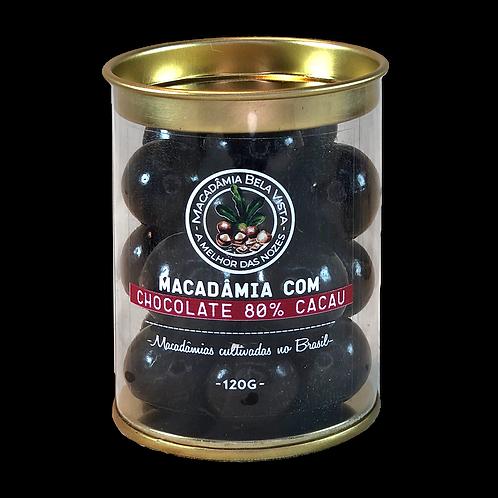 Macadâmia com chocolate 80% cacau - 120g ou 350g