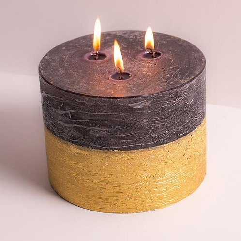Black and Gold Log Fire Candle