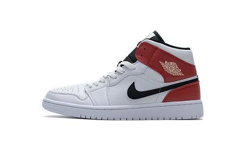 Air Jordan 1 Mid White Black Gym Red