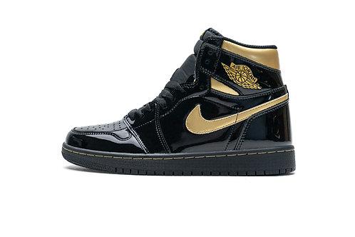 Air Jordan 1 High OG Patent Black Metallic Gold