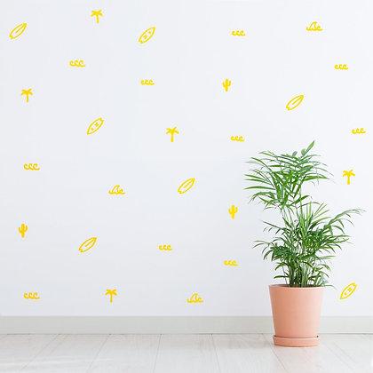 Made of Sundays / מדבקות קיר ״גלשנים״ צהוב