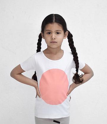 Nor-Folk / חולצה יוניסקס לבנה הדפס עיגול