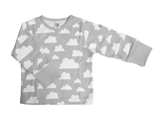 Farg & Form / חולצה ארוכה אפורה עם עננים