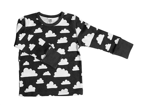 Farg & Form / חולצה ארוכה שחורה עם עננים