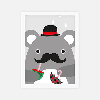 "Noodoll / פוסטר ""דובי משופם עם מטריה״"
