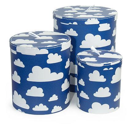 Farg & Form / סט שלישיית פחי נייר כחול עננים