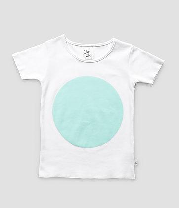 Nor-Folk /  חולצה יוניסקס לבנה עם הדפס עיגול