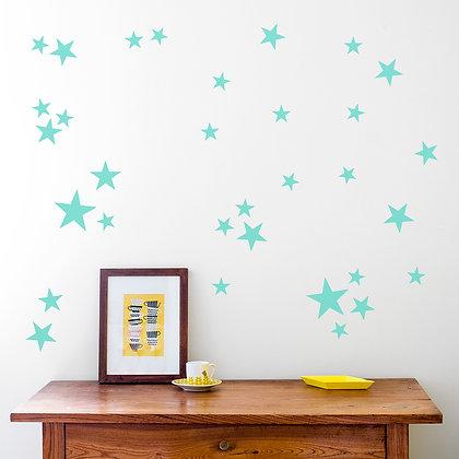 Made of Sundays / מדבקות קיר ״כוכבים״ טורקיז