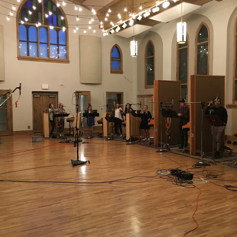 """For this session, I had the priviledge of recording the fantastic vocal jazz ensemble """"Jazzmin,"""" from Belmont. This particular picture shows half of the room in which we recorded their 14 singers."""