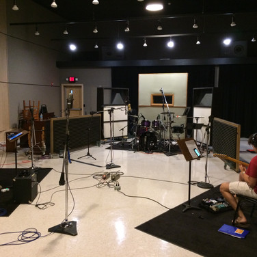 This is from the tracking session of my first major recording project. We spent the Sunday recording our rhythm section!
