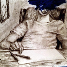 Sketch of boy sitting in a desk with blue paint smeared over face. Print size: 8.5X11