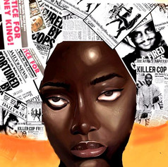 Woman of color with hair made out of collage of newspapers. Print size: 10X12