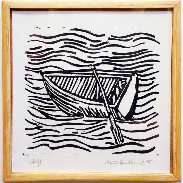 Adrift on paper in custom frame 2017