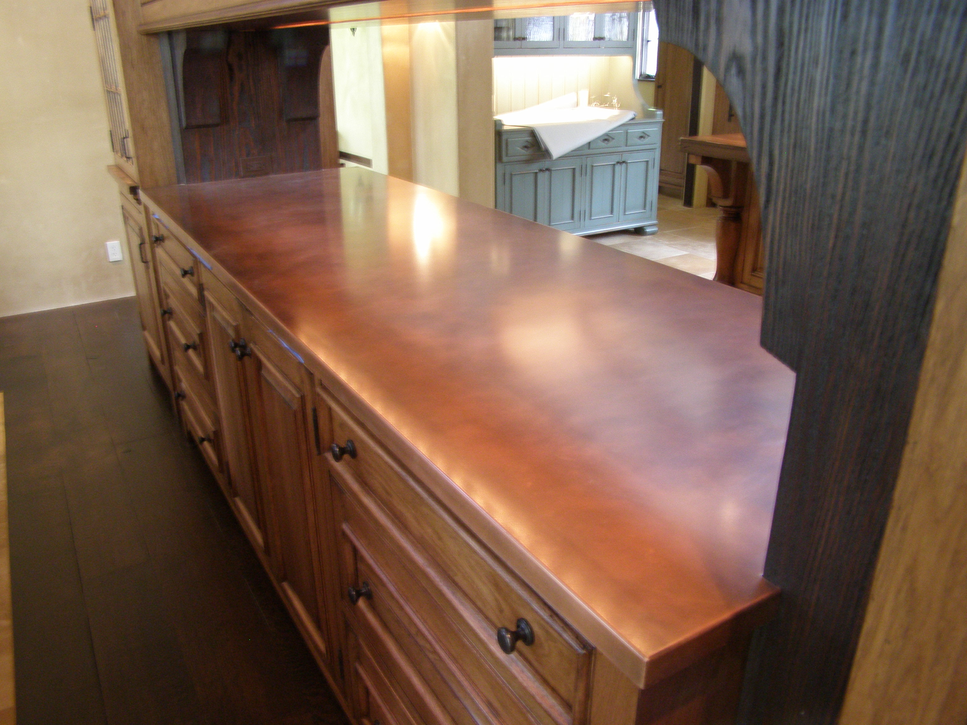 Copper Pass-Through Countertop
